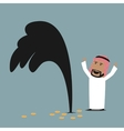 Wealthy arabian businessman with oil gusher vector image vector image