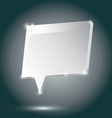Abstract metal speech bubble white on a dark vector image