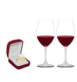 Jewellery box with ring and wineglasses vector image
