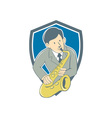 Musician Playing Saxophone Shield Cartoon vector image