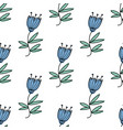 seamless pattern with blue bluebell flowers vector image