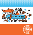 submarine print for kids vector image