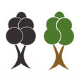 two trees set - black silhouette tree vector image