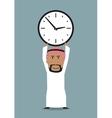 Arabian businessman with office clock above head vector image