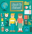 Back to School Flat Icons Set vector image