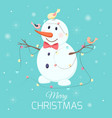 christmas snowman character birds lights garland vector image