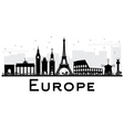 Europe Skyline Silhouette with Landmarks vector image
