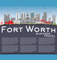 Fort worth skyline with gray buildings blue sky vector image