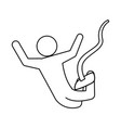 line pictogram man practice bungee jumping vector image