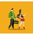 man and woman go to the gym vector image