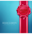 wax seal with red ribbon on a blue background vector image