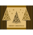 Postcard three Christmas trees retro vector image