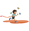 A boy running with three butterflies vector image