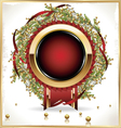 Red label with Decorative wreath vector image