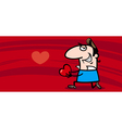 man in love valentine card vector image vector image