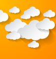 White clouds on orange background vector image vector image