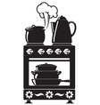 kitchenware on the stove vector image vector image