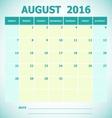 Calendar August 2016 week starts Sunday vector image