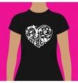 Decorative foliate heart t-shirt design template vector image