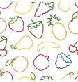 Seamless fruits and berries outline pattern vector image