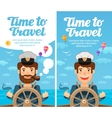 Travel to world Cruise vacation Sailor at the vector image