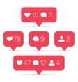 Like follower comment icons set vector image