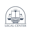 Legal Center Scales of Justice law open book icon vector image