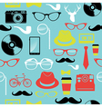 Colorful retro hipsters icons seamless pattern vector image