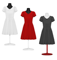 Classic women plain dress template vector image vector image