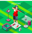 Shooting 2016 Summer Games Isometric 3D vector image