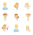 Baby Cupids With Bows Arrows And Hearts Set vector image