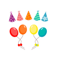 Balloons and hat party set vector image