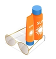 Bottles of sunscreen lotion and sunglasses Tube vector image