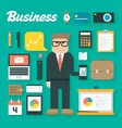 Trendy Business Flat Icons Se vector image