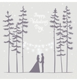 couple in forest evening vector image vector image