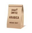 Brown paper food bag package of craft coffee vector image