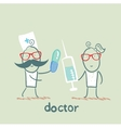 doctor with a pill and a nurse with a syringe vector image