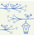 birdhouse birds doodle squared paper vector image vector image