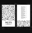 nuts vintage template hand drawn engraved vector image