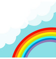 rainbow in the sky fluffy cloud in corner vector image