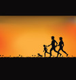 silhouette of family exercising and jogging vector image