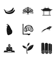 Attractions of Sri Lanka icons set simple style vector image