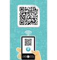 Mobile phone decoder qr code vector image vector image