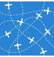 Seamless background with airplanes flying on blue vector image vector image