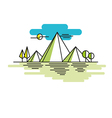 Line mountains in color linear vector image