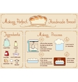 Recipe of homemade bread with ingredients Hand vector image