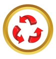 Red arrow recycling icon vector image