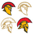 set of spartan helmets design elements for label vector image