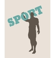 Muscular man holding sport word silhouette vector image