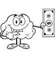Brain holding money vector image vector image